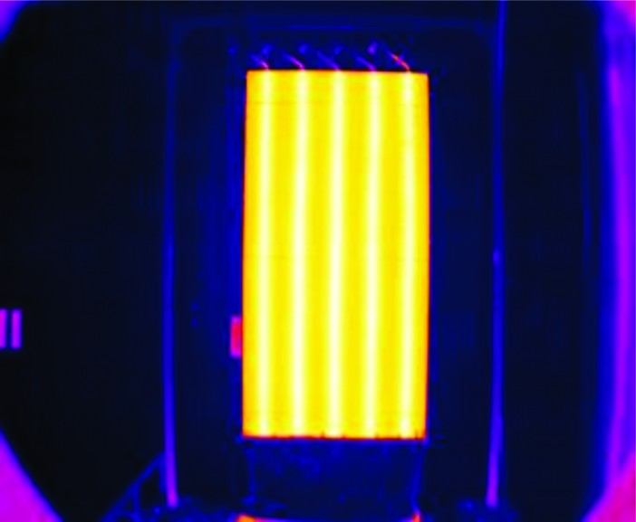 Figure 5.  Thermal Image of ACT's VCHP radiator panel during thermal testing at NASA Glenn Research Center (Heat Rejection from a Variable Conductance Heat Pipe Radiator Panel )