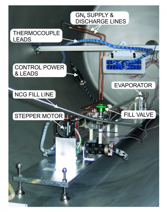 Figure 4: FW-2 PCHP mounted in vacuum chamber and ready for testing