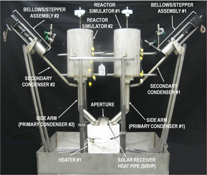 Figure 3: Pressure Controlled Heat Pipe demonstration unit uses non-condensable gas and bellows to switch power between two reactors as needed.