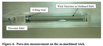Pore-size measurement on the as-machined wick