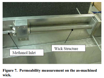 Permeability measurement on the as-machined wick.
