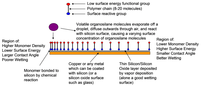 Figure 2.  The fabrication of a chemically induced surface gradient is illustrated.  Organosilanes are short polymer molecules of which one end reacts with a silicon surface and the other end can possess a desirable surface characteristic, in this case a low surface energy molecule is desired.  These molecules are bonded in a diffusion controlled reaction to create a variation in concentration and therefore surface energy on a surface.   Liquid droplets formed by condensation on the surface gradient will move towards the better wetting region.