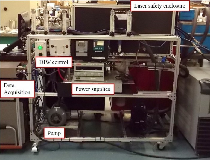 Figure 1: ACT's Thermal and Optical Test Cart for performing life test evaluations of microchannel coolers used in laser diode thermal management.