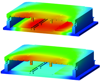 Thermal Plots showing aluminum cover and base (top) and aluminum cover with HiK™ base (bottom).