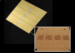 Vapor Chamber/TGP with etched electrical circuitry, gold plated with gold-tin solder pads ready for direct attach of 1 cm² vertical cavity surface emitting laser (VCSEL) chips. A representative sample of the converging wick structure is shown in the lower right photograph