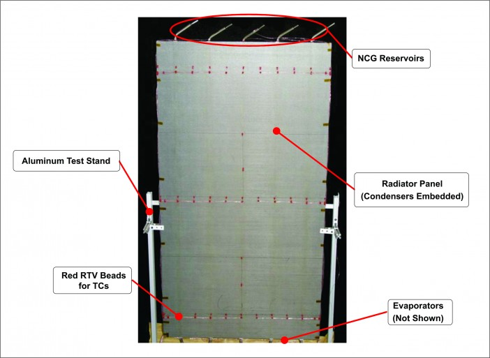 Figure 2. VCHP radiator demonstration panel, with 5 VCHPs.