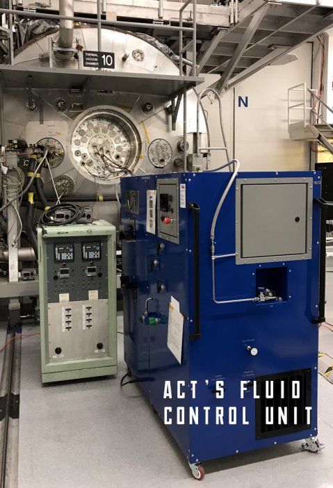 Figure 2. ACT's OCO-3 Fluid Control Unit in service during thermal vacuum testing of the Orbiting Carbon Observatory-3 payload at the Jet Propulsion Laboratory