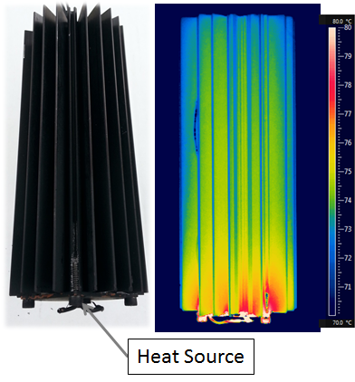 IR image and photograph of a heat pipe embedded heat sink dissipating 100 W.