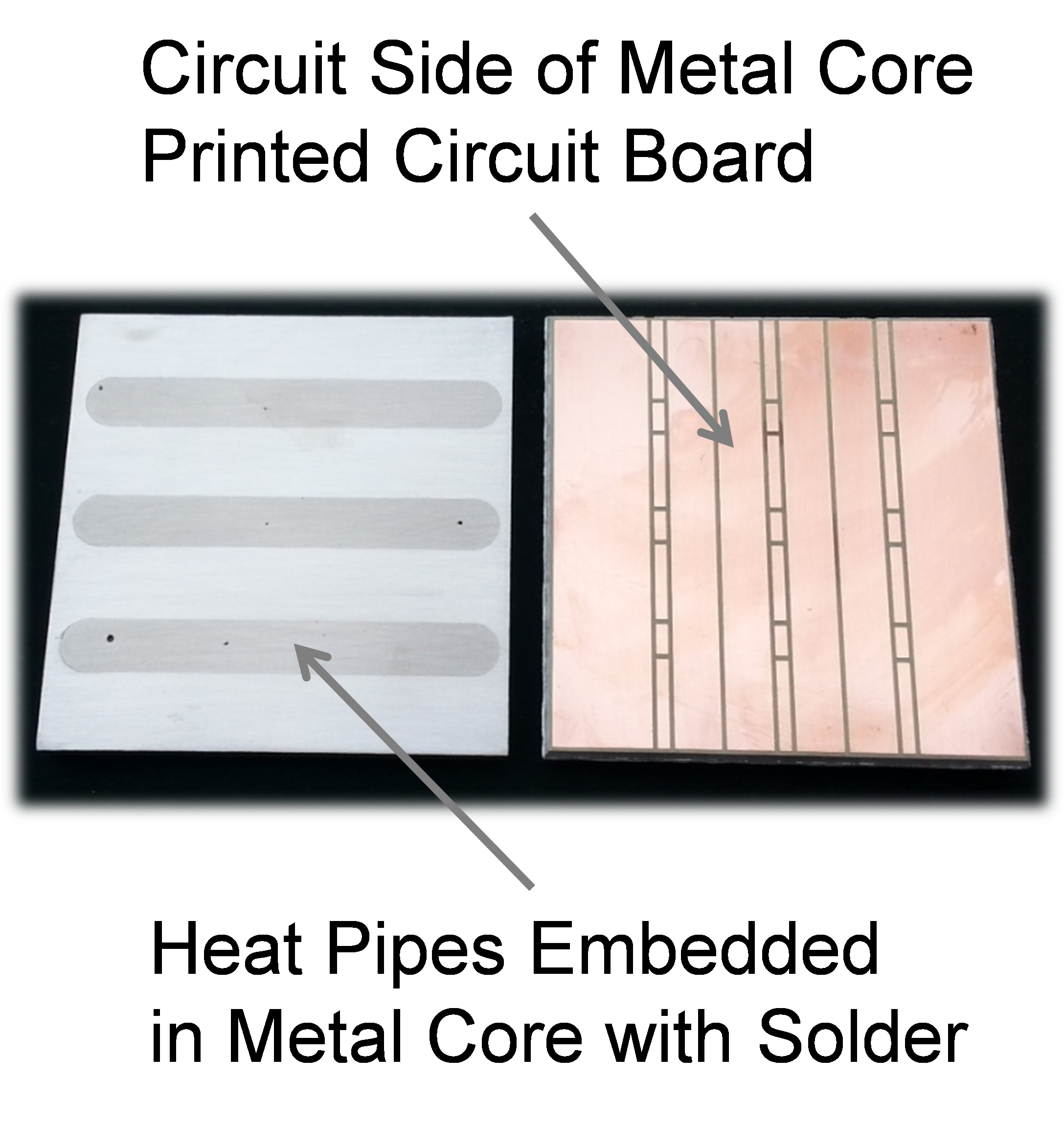 Led Thermal Management Improved Spreading On Printed Circuit Boards In A Parallel Photograph Of Metal Core Board With Heat Pipes Soldered Into The