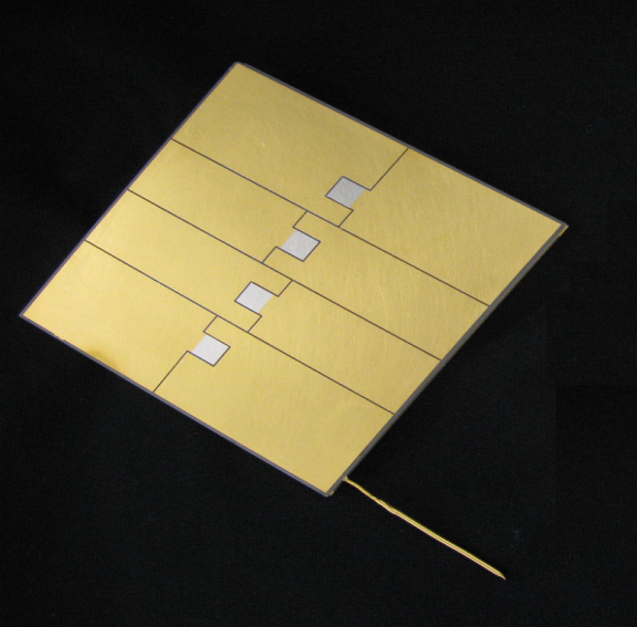 C.T.E. matched vapor chamber allows direct bonding of LED, eliminating a thermal interface.  The vapor chamber acts as a thermal transformer, spreading the heat so that it can be removed by air cooling.