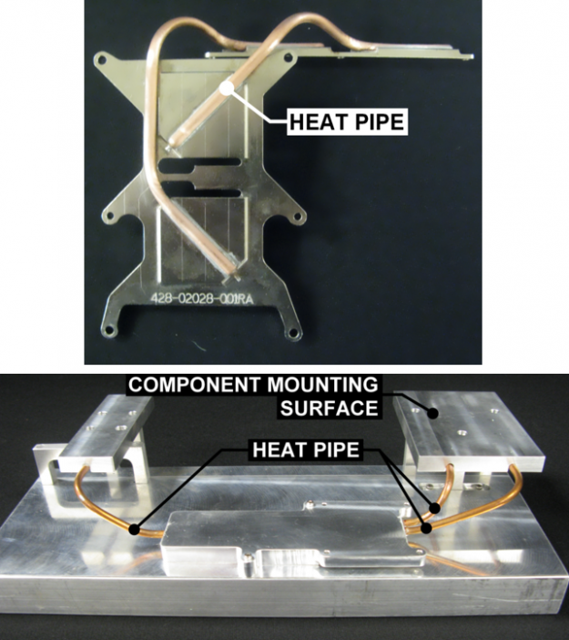 Figure 8. Spot cooling heat pipes cool discrete components by moving heat off the chip to a remote heat sink.