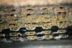 Figure 2. Plugging can occur in fine channels when attempting to apply the protective gold plating.