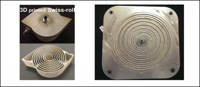 Figure 3. Different fabrication methods of Swiss-roll combustor developed at ACT. Left: 3D printing (stainless-steel). Right: Braze (Inconel).