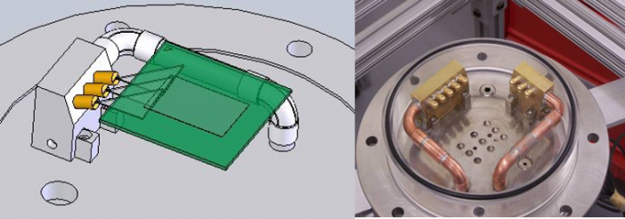 Figure 4. (Left) Solids model of nozzle array illustrating how the flat angled spray impacts the edge of the silicon die surface. (Right) Experimental impingement cooling test apparatus.