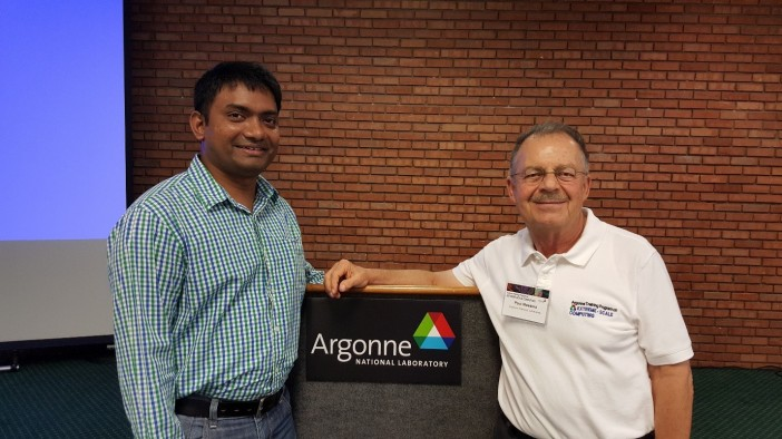 Dr. Rokkam with Dr. Paul Messina, Director of Science for the Argonne Leadership Computing Facility, during the ATPESC program.