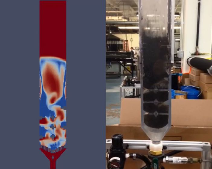 Figure 1: ACT's investigation of unique gasification reactor designs: (Left) MFiX-TFM simulation (particle in blue, gas in red), (Right) experimental cold flow validation.