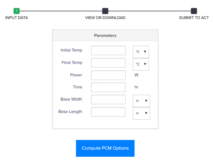 Screen capture of the PCM Calculator Input