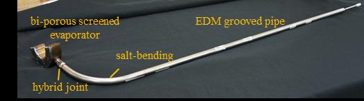 Fig. 6. Titanium water heat pipe with CSAF interface evaporator