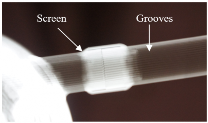 Fig. 7. Screen-groove hybrid joint x-ray image (opaque white: screen region)