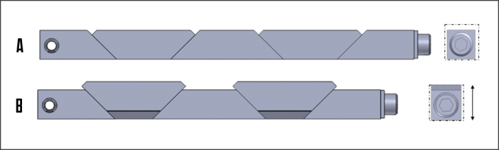 Figure 1 A conventional card retainer in a relaxed state (A) and expanded (B). Here the primary direction of expansion is vertically.