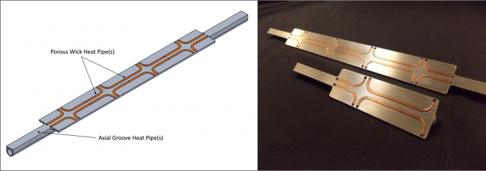 Figure 1: An axial groove CCHP with embedded copper/water heat pipes can accept higher heat fluxes than a conventional CCHP.