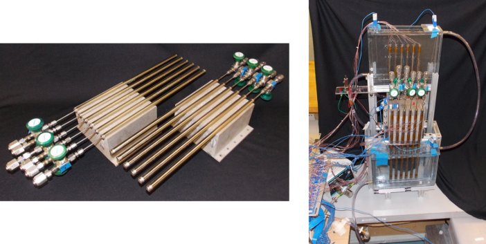 Figure 3: Scale-up demonstration prototype: (left) 3-D printed PCM volumes, (right) system installed in test setup