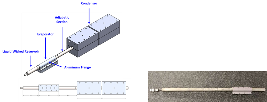 Figure 16. The flanged titanium/water heat pipe.