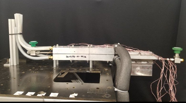 Figure 25. Thermal management system under testing for the subscale (i.e. quad pack) Dragonfly high-power T/R module.