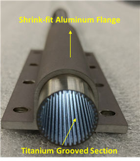 Figure 7. The aluminum flange was joined to the titanium heat pipe via shrink-fit.