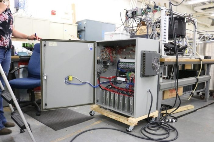 A power electronics enclosure for a test setup is full of high-power electronic components generating massive waste heat